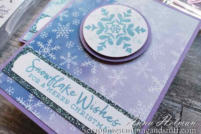 This beautiful snowflake card idea, made with Stampin Up Snowflake Splendor designer series paper, comes together in minutes!