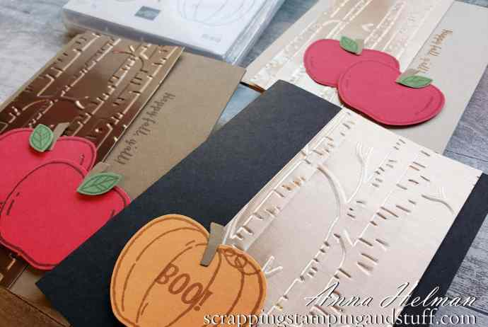 Two pretty and simple autumn card ideas made with the Stampin Up Harvest Hellos stamp set and Apple Builder Punch.