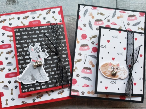 Make these cute cat and dog fun fold cards using the Stampin Up Playful Pets product suite in the 2020 Annual Catalog.