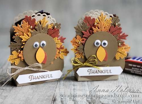 These DIY turkey treat boxes are perfect for your Thanksgiving dinner table. They make wonderful Thanksgiving table decorations, place card holders, or just fun treats!