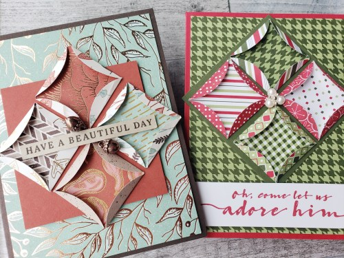 For this Mystery Stamping project, we made this gorgeous quilt card using folded circles!