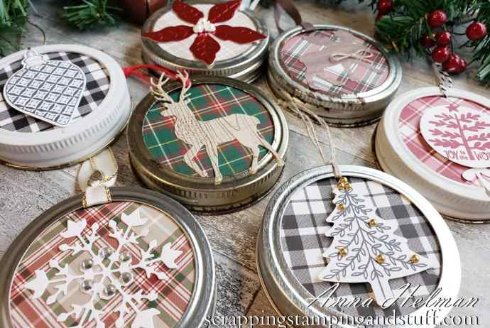 These canning jar ring ornaments are cute, easy to make, and make perfect gifts or decorations for your Christmas tree this season!