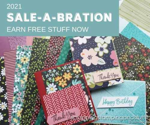 Stampin' Up's 2021 Sale-a-bration is the happiest time of year to order, host, or sign up with Stampin Up. Get all the details on special offers and free gifts here!