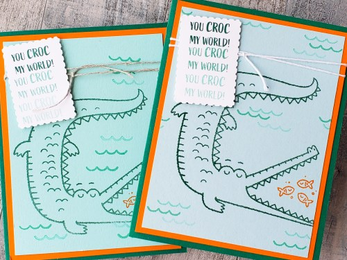 The Stampin Up Oh Snap stamp set makes for adorable crocodile cards and cute pun-filled sayings! Check out this snappy card!