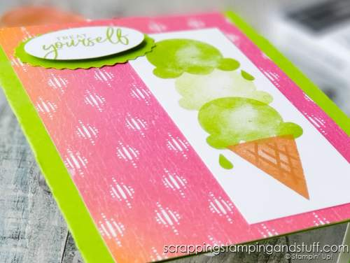 Take a look at this sweet and simple ice cream card made using the Stampin Up Sweet Ice Cream stamp set. It's a real treat!