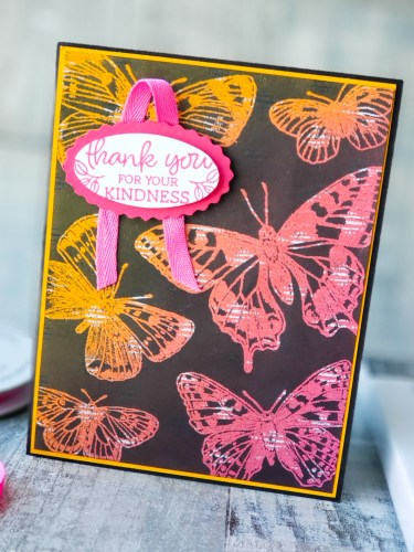 Learn how to make this beautiful butterfly card using the Joseph's Coat technique and the Stampin Up Butterfly Brilliance stamp set.