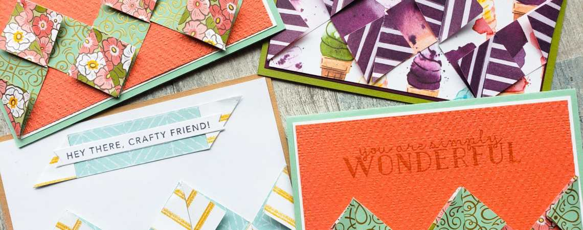 Make this wonderful chevron card design in minutes with a few paper scraps and a simple folding technique!
