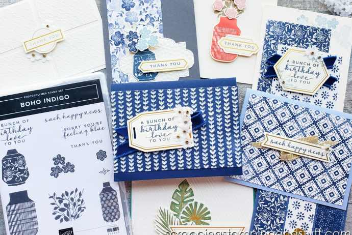 The Boho Indigo Product Medley cardmaking kit includes the paper, stamps, ink, and embellishments to make gorgeous vintage cards!