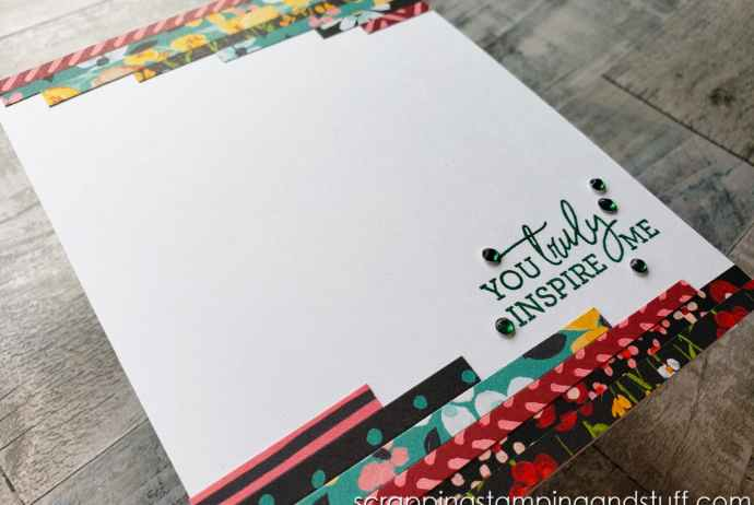 Don't waste your beautiful printed papers! Make this easy scrap card idea to use up those paper scraps!