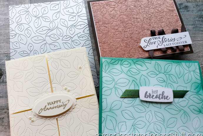 Make beautiful backgrounds with your cards all day long using the Stampin Up Stitched Greenery background die.