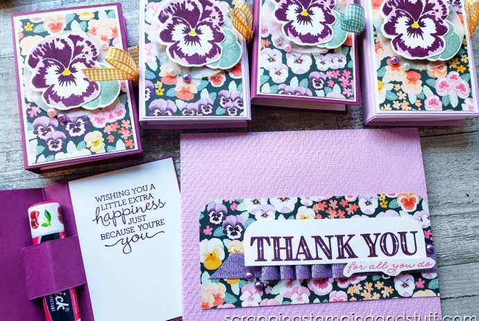 Lip Balm Booklet 3D Project Treat Holder Gift Idea With Stampin Up Pansy Patch