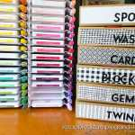 Do you love an organized craft area? Check out this idea for using Stampin Up kit and Paper Pumpkin boxes for inexpensive storage options!