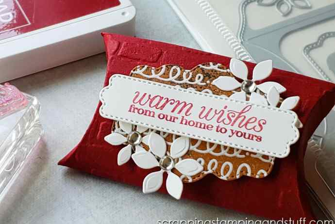 Make this adorable pillow box, treat holder, party favor, wedding favor, or stocking stuffer with the Stampin Up Pretty Pillow Box dies.