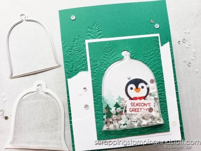 Make this adorable penguin shaker dome card today using the Stampin Up Cloche Dies & Cloche Shaker Domes!