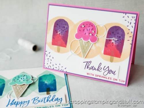 Make these quick and easy one-layer cards today using the Stampin Up Watercolor Shapes stamp set!