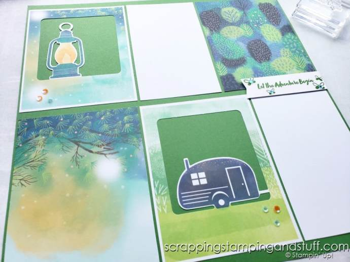 July 2021 Paper Pumpkin The Adventure Begins Card Kit And Alternative Ideas - Camping Scrapbook Page
