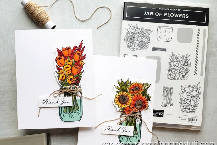 Take a look at these alcohol marker blending techniques for making clean and simple handmade cards using the Stampin Up Jar of Flowers stamp set.