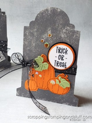 Stampin Up Gravestone Boxes are the best for easy Halloween treats and decorations - click here to see 5 ways to use them!