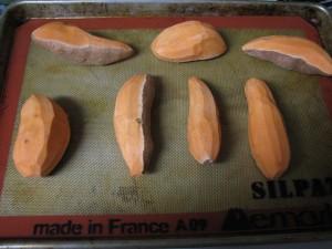 Semi-peeled sweet potatoes