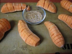 Sliced, stuffed and ready to season sweet potatoes