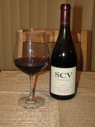 Sonoma Coast Vineyards Pinot Noir, bottle and poured sample