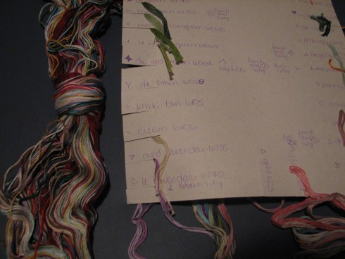 a hank of floss and a separated card of flosses ready to stitch