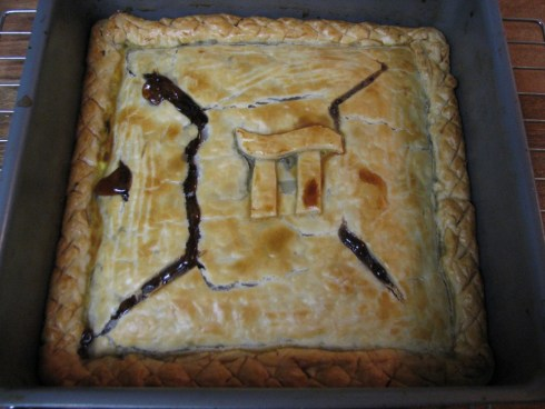 A squared mincemeat pie for Pi Day