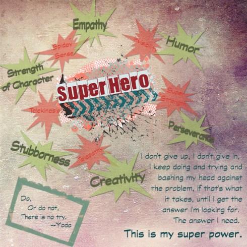 """Super Hero"" digital art journal layout"