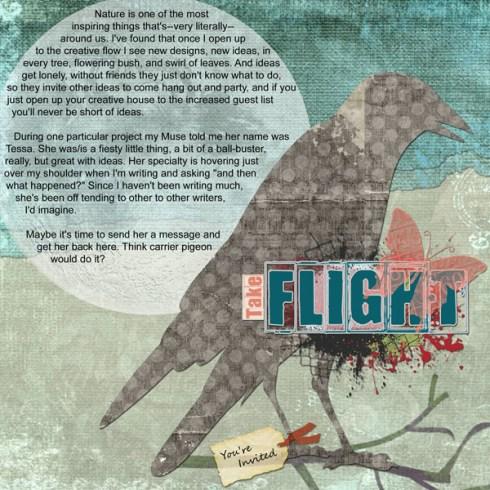 """Take Flight"" digital art journal layout"