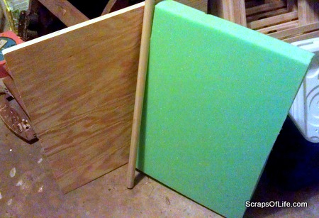 "The pieces for the rest of the makeover: 3/4"" plywood and 2 "" foam for the seat, and a 1-inch dowel for the braces."