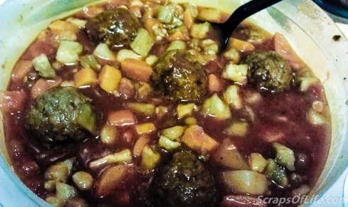 Italian Meatball Stew (p146) uses frozen meatballs, ready-made sauce, and canned mixed vegetables. You could easily make your staples ahead of time if needed.