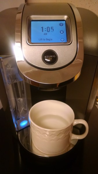 The hot water feature. The option comes up whenever you close the top after removing the spent K-Cup, or you can press the little water droplet on the side of the screen.