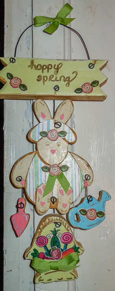 Decoupaged Wooden Bunny