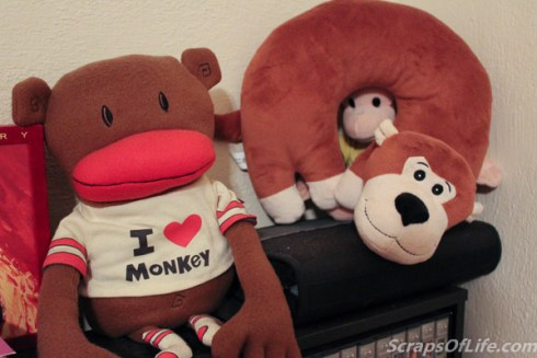 These three (do you see Curious George peeking through my monkey neck pillow?) perch on top of one of the DVD cases.