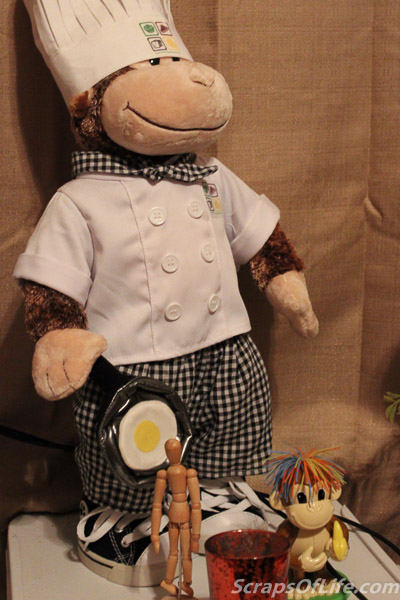 Chef George, there, was my reward to myself for finishing the cookbook and travels with us to convention appearances as our mascot.