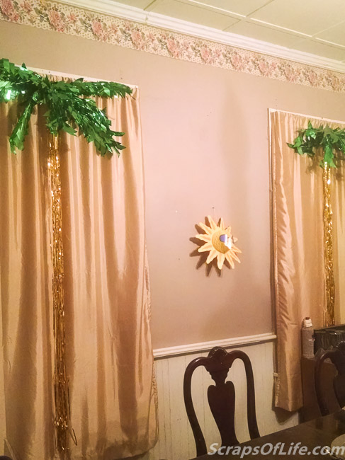 These palm trees were a quick way to really give the room a luau vibe.