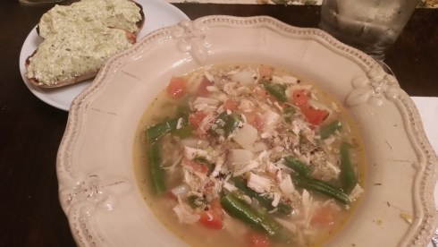 Lemon-Dill Quinoa Chicken Soup w/Ricotta Sweet Pea Toasts (link & link)