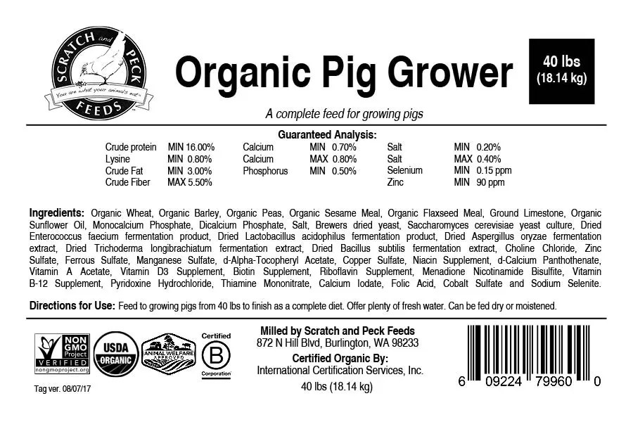 Organic Pig Grower | Scratch and Peck Feeds | Certified