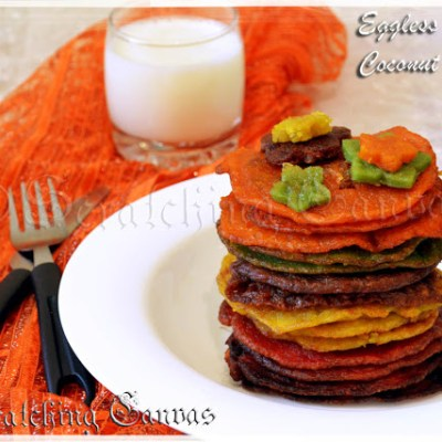 Eggless Banana Coconut Sweet Rainbow Pancake with Dry Fruits