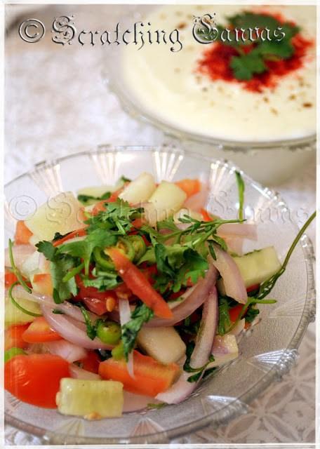 chilled raita with cucumber salad