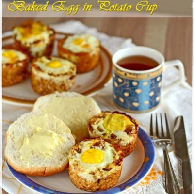 A Perfect Easter Breakfast with Baked Egg in Cheesy Potato Cup