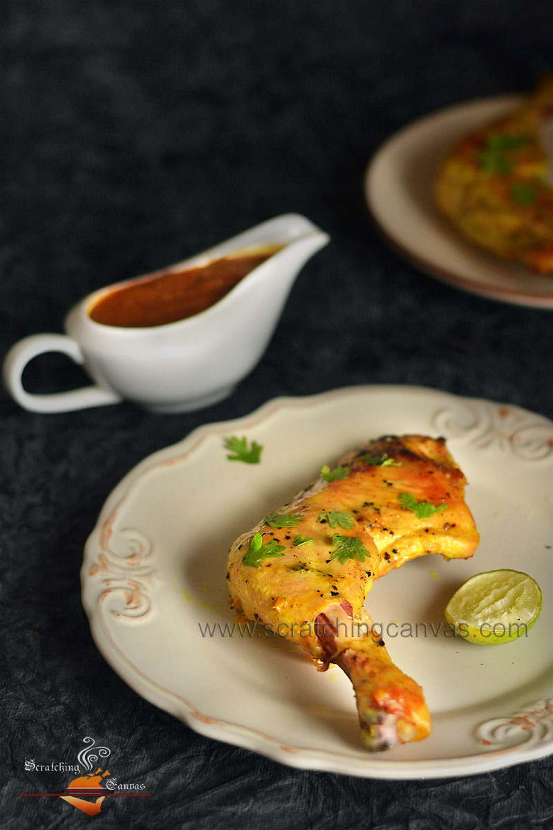 Oven Roasted Chicken with Cherry Sauce Food Photography