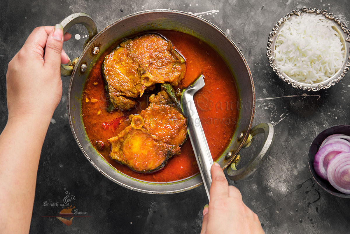 Indian Catfish Curry Food Photography Styling