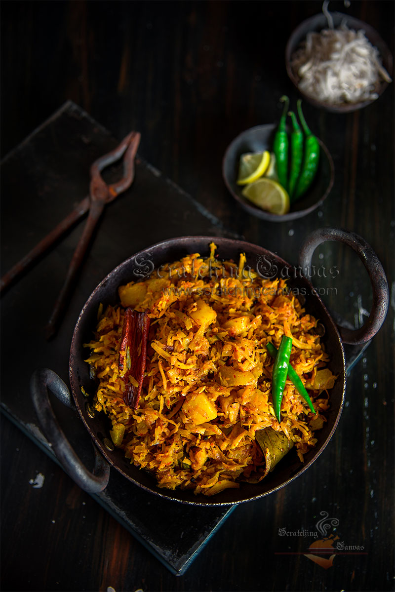 Grated Papaya Curry Dark Moody Food Photography Styling