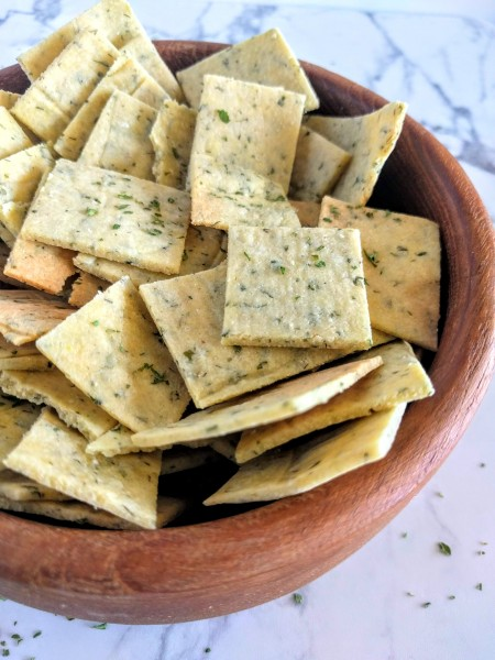 Ranch crackers made with almond flour.