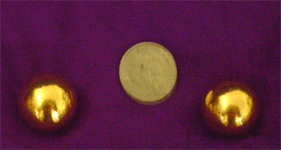 size of the golden ben wa balls compared to a 5 cent piece