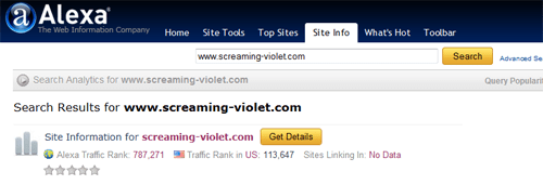 screenshot of screaming-violet.com 's Alexa Ranking from Dec 27th 2010
