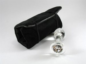 Crystal Delights glass butt plug with its storage pouch