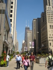 View down the Magnificent Mile towards the John Hancock Center in Chicago Il