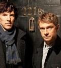 Benedict Cumberbatch (l) and Martin Freeman (R) in BBC's Sherlock. Image © BBC